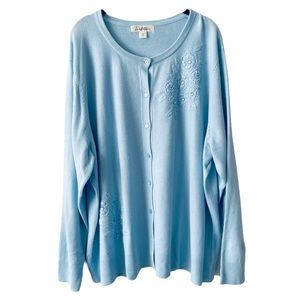 Baby Blue Traditions Knit Cardigan Sweater 3X